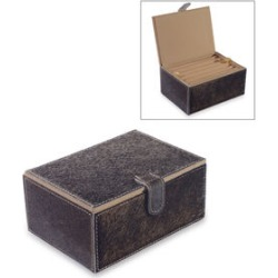 Hide Leather Two Tier Small Jewellery Box with Magnetic Flap Closure (Size 18x13x8 Cm) - Brown Colour