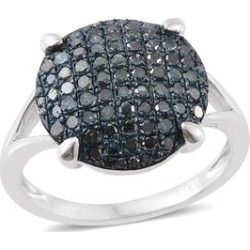 Blue Diamond (Rnd) Cluster Ring in Platinum Overlay Sterling Silver 1.000 Ct. found on Bargain Bro UK from The Jewellery Channel