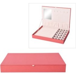 Leatherette Red Rectangular Jewellery Box with 13 Ring Rows, 24 Sections and Mirror Inside (Size 35x24x4.3 Cm)