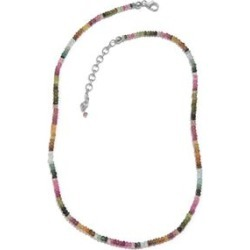 Tuscon Collection-Rainbow Tourmaline (Rnd) Beads Necklace (Size 18 with 2 inch Extender) in Sterling Silver 45.050 Ct. found on Bargain Bro UK from The Jewellery Channel