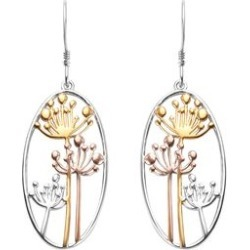 Platinum, Yellow and Rose Gold Overlay Sterling Silver Dandelion Hook Earrings, Silver wt 5.22 Gms. found on Bargain Bro UK from The Jewellery Channel