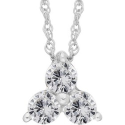 9K White Gold SGL Certified Diamond (Rnd) (I3/G-H) Trilogy Pendant with Chain (Size 18) 0.25 Ct. found on Bargain Bro UK from The Jewellery Channel