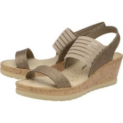 Dunlop Missy Elastic Wedge Heeled Sandals in Taupe Colour found on Bargain Bro UK from The Jewellery Channel