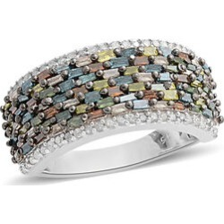 Multi Colour Diamond (Bgt and Rnd) Ring in Platinum and Black Overlay Sterling Silver 1.000 Ct. found on Bargain Bro UK from The Jewellery Channel