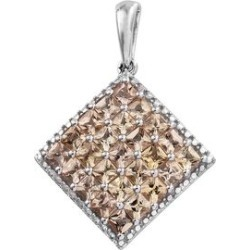 Imperial Topaz (Sqr) Pendant in Platinum Overlay Sterling Silver 2.750 Ct. found on Bargain Bro UK from The Jewellery Channel