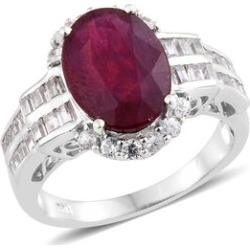 African Ruby (Ovl 8.25 Ct), Natural Cambodian Zircon Ring in Platinum Overlay Sterling Silver Ring 10.250 Ct. Silver wt 5.53 Gms. found on Bargain Bro UK from The Jewellery Channel