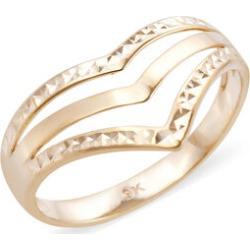 Royal Bali Collection - 9K Yellow Gold Triple Wishbone Diamond Cut Ring