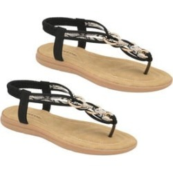Dunlop Nikita Embellished Toe Post Flat Sandals in Black Colour found on Bargain Bro UK from The Jewellery Channel