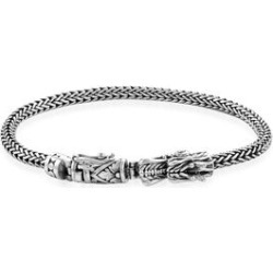 Royal Bali Collection - Sterling Silver Tulang Naga Bracelet (Size 8) with Dragon Head Clasp, Silver wt 25.70 Gms