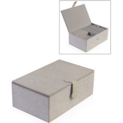 Hair on Leather Two Tier Jewellery Box with Magnetic Flap Closure (Size 23.5x14.5x9 Cm) - Grey Colour
