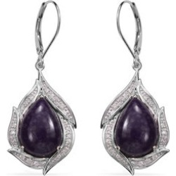 Sugilite (Pear), Diamond Lever Back Earrings in Rhodium Plated Silver found on Bargain Bro UK from The Jewellery Channel