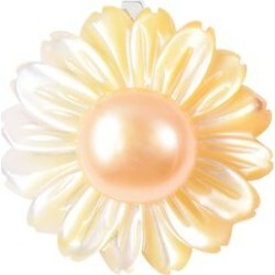Yellow Mother of Pearl and Freshwater Golden Pearl Flower Pendant in Rhodium Overlay Sterling Silver