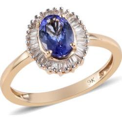 9K Yellow Gold AA Tanzanite (Ovl 7x5 mm), Diamond Ballerina Ring 1.00 Ct.