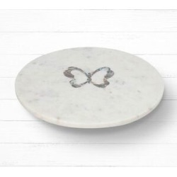 NAKKASHI - Round Marble Lazy Susan Tray with Abalone Inlay Butterfly Motif found on Bargain Bro UK from The Jewellery Channel