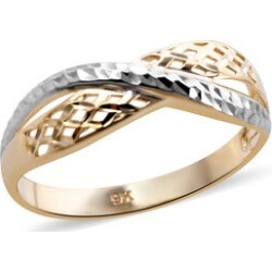 Royal Bali Collection- 9K Yellow and White Gold Criss Cross Ring, Gold wt 1.40 Gms