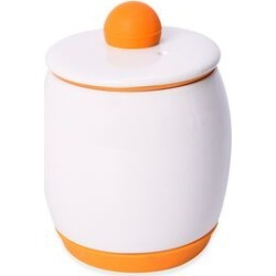 Egg-Tastic Ceramic Microwave Egg Cooker with Silicone Bottom and Top Lid (Size 8x12 Cm) - White and Orange