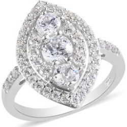 J Francis Platinum Overlay Sterling Silver Ring Made with SWAROVSKI ZIRCONIA found on Bargain Bro UK from The Jewellery Channel