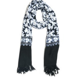 Very Limited Edition 100% Merino Wool Black, White and Blue Colour Hand Embroidered Shawl with Tassels (Size 190x70 Cm) found on Bargain Bro UK from The Jewellery Channel