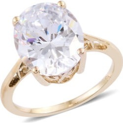 J Francis - 9K Yellow Gold (Ovl 12x10 mm) Solitaire Ring Made with SWAROVSKI ZIRCONIA, Gold wt 2.41 Gms.