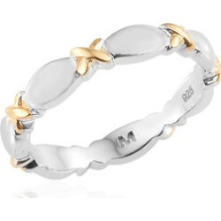 Platinum and Yellow Gold Overlay Sterling Silver Band Ring found on Bargain Bro UK from The Jewellery Channel