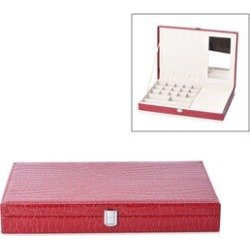 Croc Embossed Jewellery Boxes with Inside Mirror (Size 40x28x5.5 Cm) - Wine Red Colour