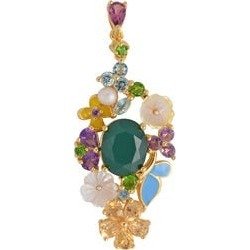 Jardin Collection- Verde Onyx (Ovl 10x8 mm), Yellow Mother of Pearl and Multi Gemstone Pendant in Enamelling Yellow Gold Overlay Sterling Silver 5.460 Ct.