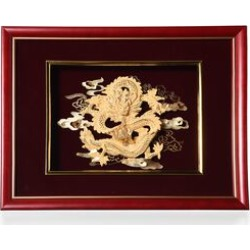 Home Decor - 24K Gold Plated Dragon Wooden Frame (Size 27x34 Cm) found on Bargain Bro UK from The Jewellery Channel