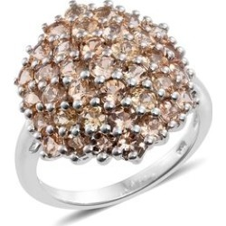 Cocktail Collection- Imperial Topaz (Rnd) Cluster Ring in Platinum Overlay Sterling Silver 5.250 Ct. found on Bargain Bro UK from The Jewellery Channel