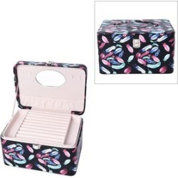 3-Tier Feather Pattern Jewellery Box with Handle and Inside Mirror (Size 25.8X18.8X14.5 Cm) - Black and Multi