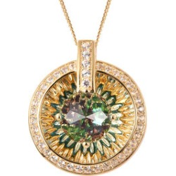 Galatea DavinChi Cut Collection -Blue Topaz, Russian Diopside, Natural Cambodian Zircon and Mozambique Garnet Pendant with Chain (Size 18) in Yellow Gold Overlay Sterling Silver 4.90 Ct. found on Bargain Bro UK from The Jewellery Channel