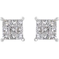 NY Close Out 9K White Gold Diamond (Princess) (I2-I3/G-H) Earrings (with Push Back) 0.50 Ct.