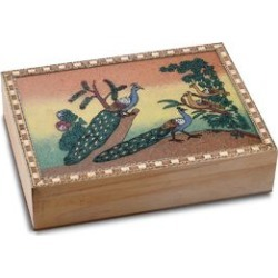 Wooden Jewellery Box with Hand-painted Gemstone Peacock (Size 20.3x15.2x5 Cm) with Red Velvet Lining - Multicolour