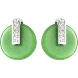 Green Jade and Natural Cambodian Zircon Earrings in Rhodium Overlay Sterling Silver 6.35 Ct. found on Bargain Bro UK from The Jewellery Channel