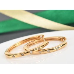 Diamond (Rnd) Hoop Earrings (with Clasp) in 14K Gold Overlay Sterling Silver found on Bargain Bro UK from The Jewellery Channel