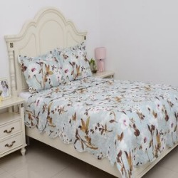 3 Piece Set - Floral Pattern Quilt (Size 240x260 Cm) and 2 Pillow Case (Size 2x50x70+5 Cm)