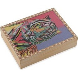 Wooden Jewellery Box with Hand-painted Gemstone Tiger (Size 20.3x15.2x5 Cm) with Red Velvet Lining - Multicolour