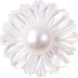 White Mother of Pearl and Freshwater White Pearl Flower Pendant in Rhodium Overlay Sterling Silver