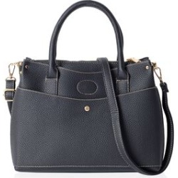 Classic Black Colour Multi Compartment Large Tote Bag with Removable Shoulder Strap (Size 32x23x13 Cm)