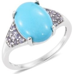 Arizona Sleeping Beauty Turquoise (Ovl 3.50 Ct), Tanzanite Ring in Platinum Overlay Sterling Silver 3.750 Ct. found on Bargain Bro UK from The Jewellery Channel