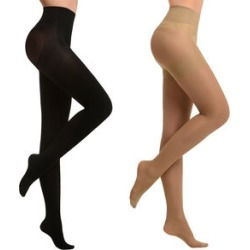 Set of 2 SANKOM Patent Tights Beige and Black Colour found on Bargain Bro UK from The Jewellery Channel