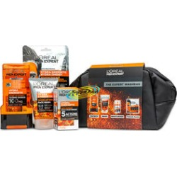 LOreal Men Expect: Fully Charged (Incl. Hydra Energetic - Shower Gel 300ml, Wake-Up Effect Face Wash 100ml, Anti-Fatigue Daily Moisturiser 50ml & Recharging Tissue Mask 30gm) with Cosmetic Bag found on Makeup Collection from The Jewellery Channel for GBP 22.27