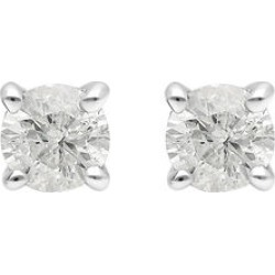 9K White Gold SGL Certified Diamond (I3/G-H) Stud Earrings (with Push Back) 0.25 Ct. found on Bargain Bro UK from The Jewellery Channel