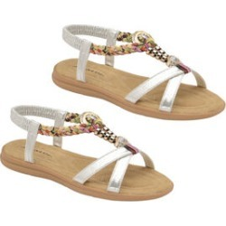 Dunlop Adonia Embellished Open Toe Flat Sandals in Silver Colour found on Bargain Bro UK from The Jewellery Channel