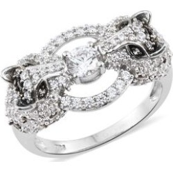 J Francis - Platinum Overlay Sterling Silver (Rnd) Leopard Ring Made with SWAROVSKI ZIRCONIA. Silver wt 6.68 Gms. Number of Swarovski 123. found on Bargain Bro UK from The Jewellery Channel