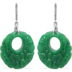 Carved Green Jade Floral Circular Earrings (with Lever Back) in Sterling Silver 37.50 Ct. found on Bargain Bro UK from The Jewellery Channel