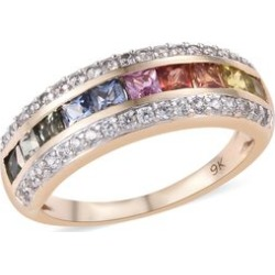 9K Yellow Gold AAA Rainbow Sapphire (Princess), Natural Cambodian Zircon Ring 2.000 Ct. Gold Wt 3.00 Gms