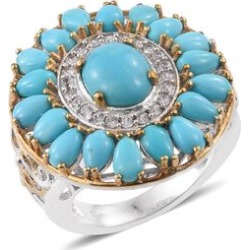 Arizona Sleeping Beauty Turquoise (Ovl 1.50 Ct), Natural Cambodian Zircon Ring in Platinum and Yellow Gold Overlay Sterling Silver 5.750 Ct. found on Bargain Bro UK from The Jewellery Channel