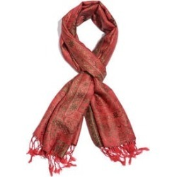 100% Superfine Silk Orange, Red, Green and Multi Colour Jacquard Jamawar Scarf with Tassels (Size 180x70 Cm) (Weight 125 - 140 Gms) found on Bargain Bro UK from The Jewellery Channel