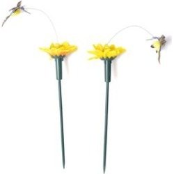 Set of 2 - Home Decor Solar Fluttering Hummingbird with Sunflower- Yellow and Green
