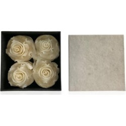 Set of 4 - Rose Aroma Candles in Box (Size 7x3.5x3.5 Cm) - White